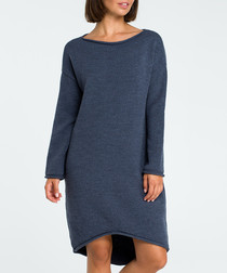Blue longline jumper dress