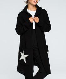 Black star print cardigan