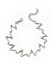 Sterling silver wave link bracelet