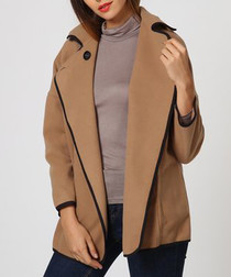 Camel wool blend open coat