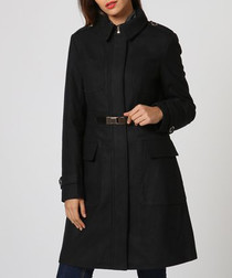 Black wool blend waist detail coat