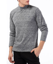 Grey marl cotton blend high neck jumper
