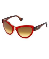 Tortoiseshell & red cat eye sunglasses