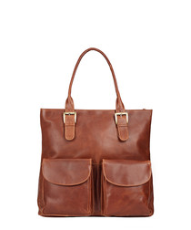 Brown leather buckle shopper