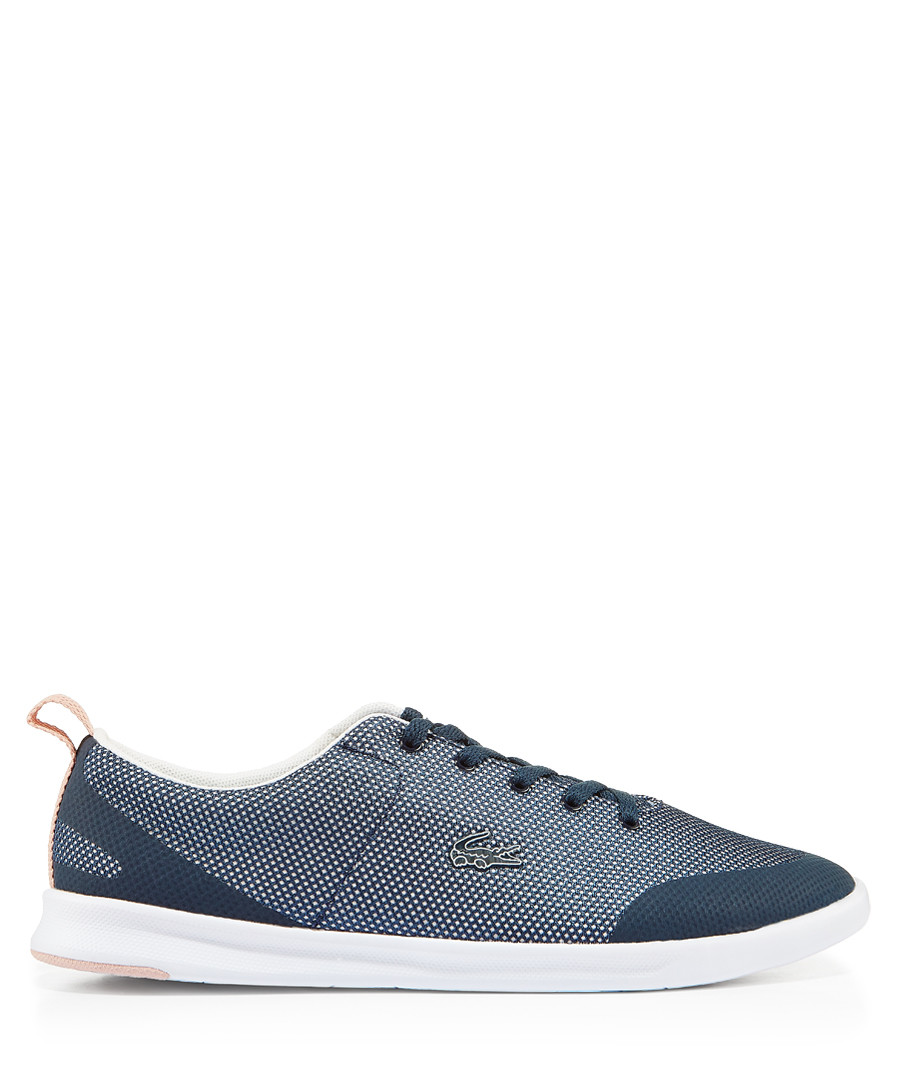 Patterned navy lace-up branded sneakers Sale - lacoste