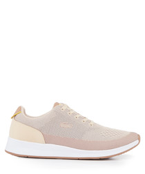 Blush colour block lace-up sneakers