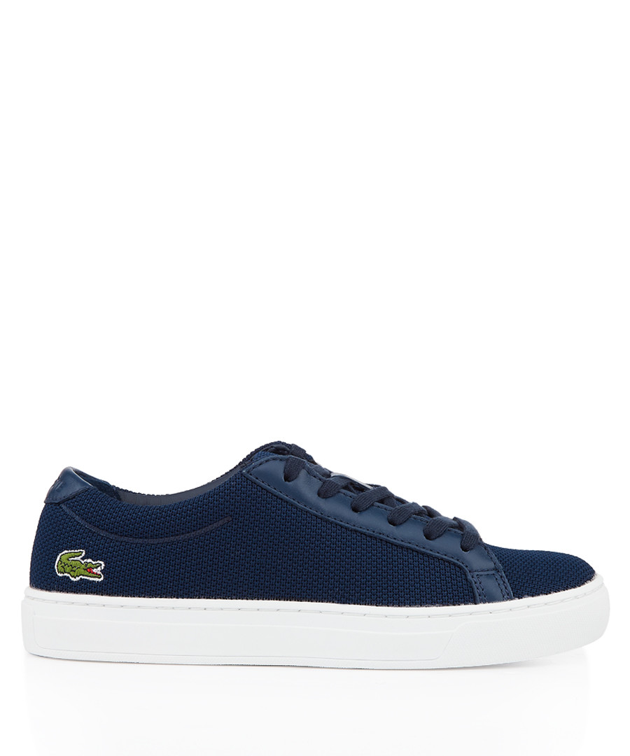 Navy branded heel lace-up sneakers Sale - lacoste