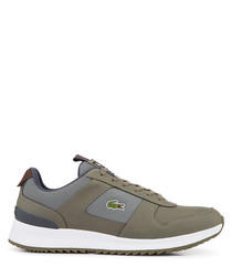 Green & grey branded lace-up sneakers