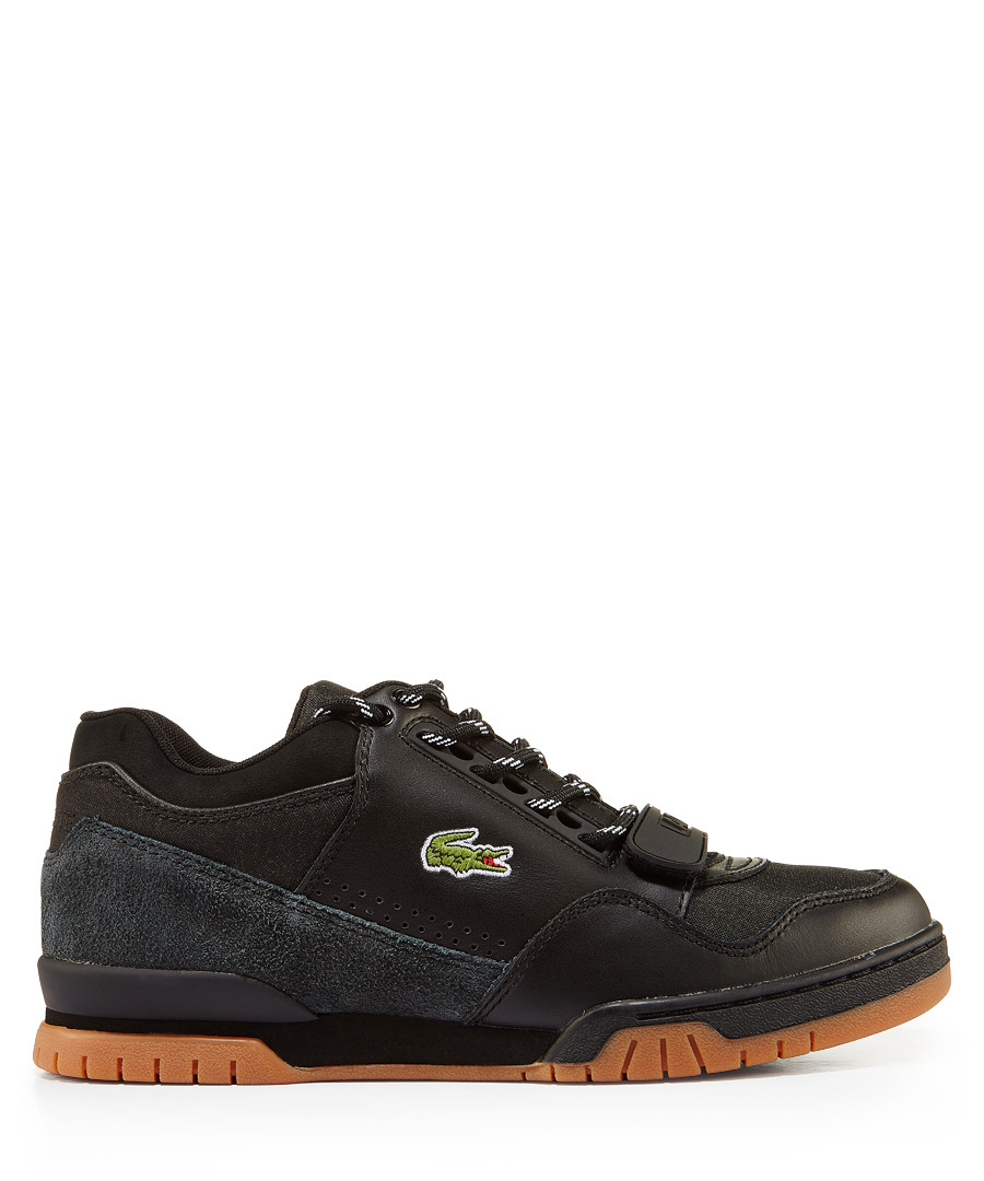 Black & tan branded lace-up sneakers Sale - lacoste