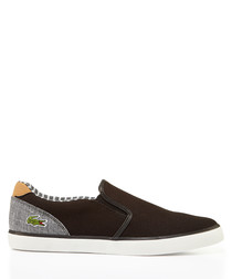 Brown & grey branded slip-on sneakers