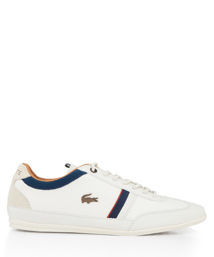 White & navy branded stripe sneakers Sale - lacoste