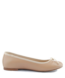 Beige leather ballet pumps