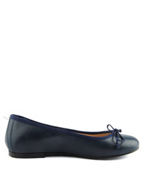 Navy leather ballet pumps