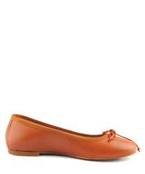 Orange leather ballet pumps