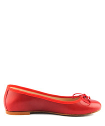 Red leather ballet pumps