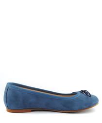 Blue suede ballet pumps