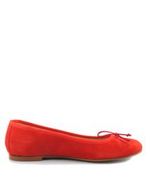 Red suede ballet pumps