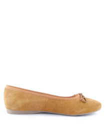 Tan suede ballet pumps