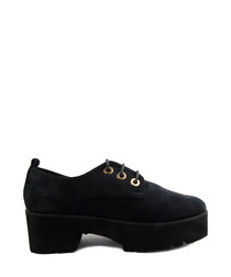 Midnight lace-up platform shoes