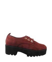 Burgundy lace-up platform shoes