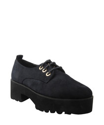 Black lace-up platform shoes