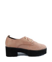 Dusty pink lace-up platform shoes