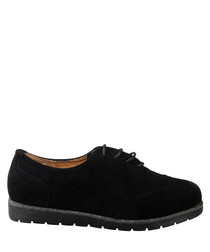 Black relaxed lace-up brogue shoes