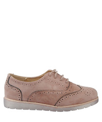 Dusty pink relaxed lace-up brogue shoes
