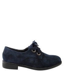 Navy two-hole lace shoes