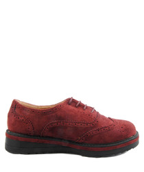 Burgundy flat brogues