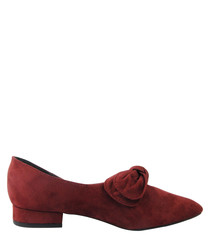 Burgundy bow detail pointed pumps