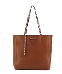 Caramel leather studded strap tote bag