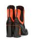 Black & orange leather lace heel boots Sale - Prada Sale