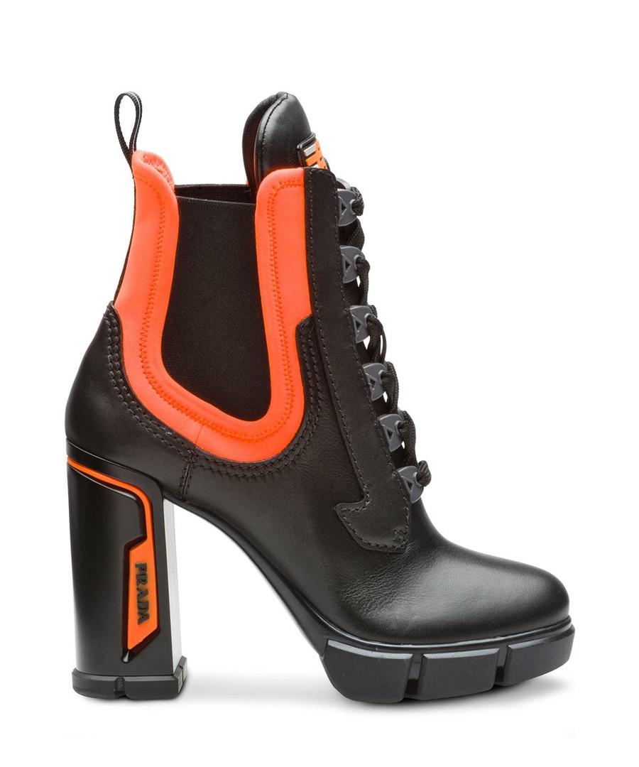 Black & orange leather lace heel boots Sale - Prada