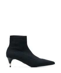 Black leather & nylon sock boots