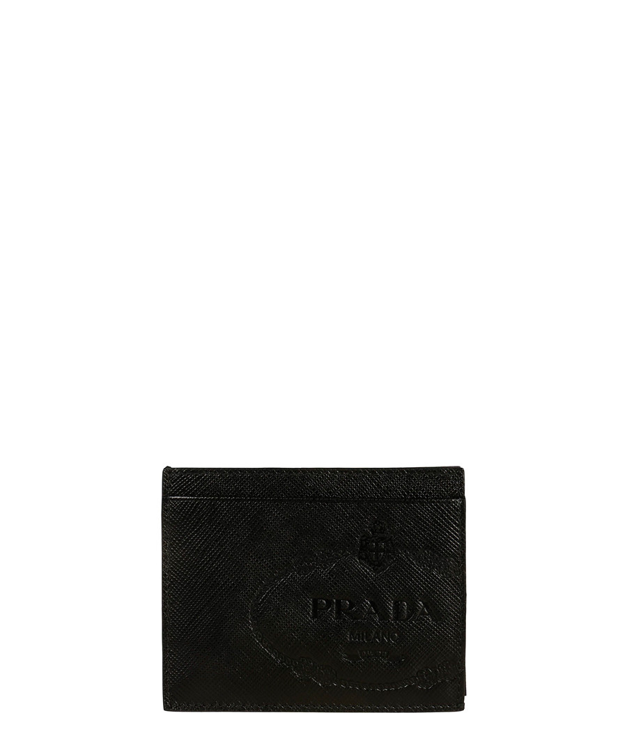 Black leather emblem cardholder Sale - prada