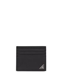 Black leather plaque cardholder