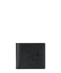 Black leather emblem bifold wallet