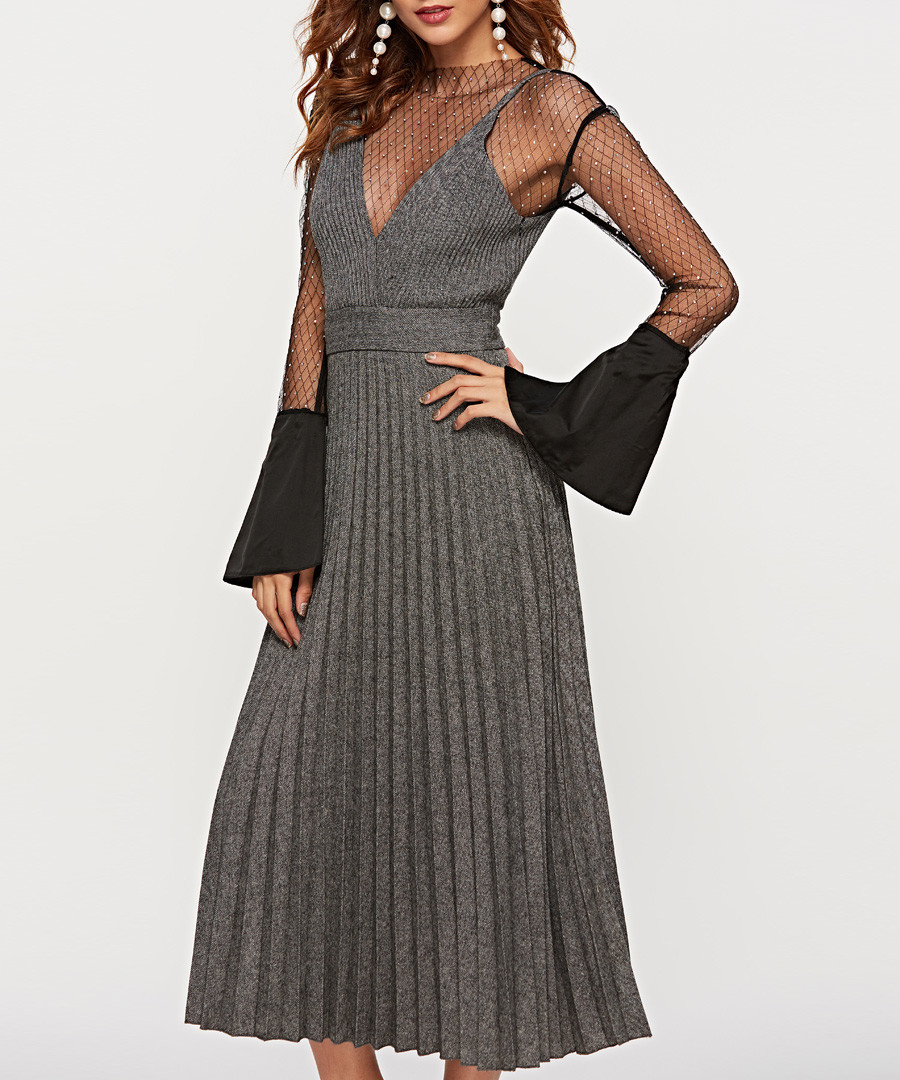 Grey sheer bell sleeve midi dress Sale - sipaya