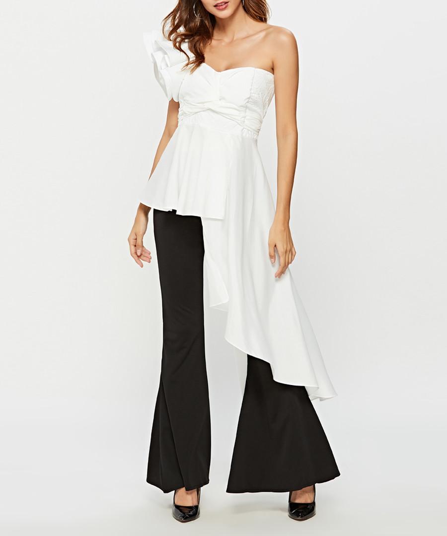 White sleeveless asymmetric blouse Sale - sipaya