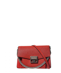 Red goatskin emblem shoulder bag