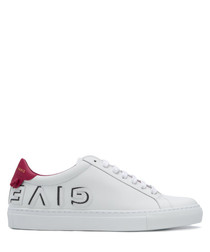 White & pink leather logo sneakers
