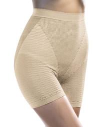 Beige geo high-waist shaping briefs
