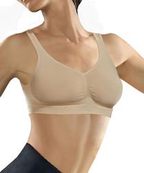 Beige seamless push-up bra