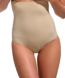 Beige high-waist shaping briefs