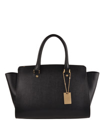 Harbour black leather shopper bag