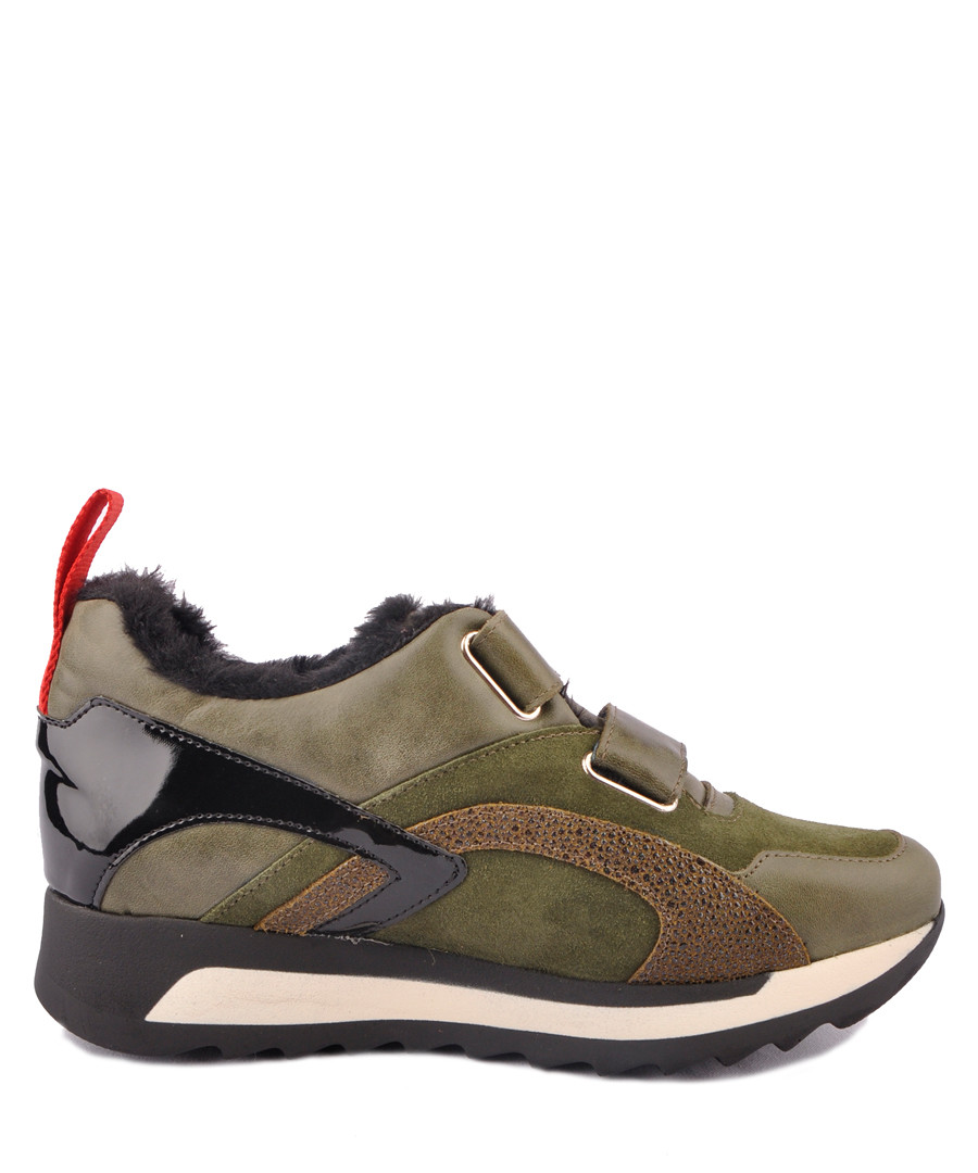 Khaki leather panel strap sneakers Sale - BROSSHOES