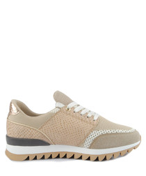 Beige perforated panel sneakers