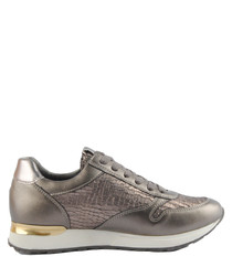 Gunmetal metallic panel sneakers