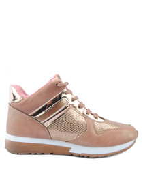 Dusty pink mid-top panel sneakers